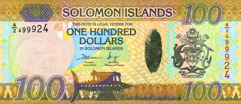 P36 Solomon Islands 100 Dollars Year 2015